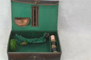 sewing box leather Shaker Community with extras rare  antique original