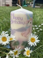 "UNICORNS  ""HAPPY BIRTHDAY"" HAND DECORATED CHUNKY PILLAR CANDLE 15x8cm"
