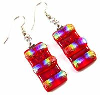 """DICHROIC Glass EARRINGS Red Blue Gold Rainbow Rectangle Dangle - Surgical 1"""""""