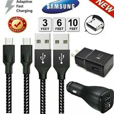 Original Samsung Galaxy S7 S6 Note5 4 Fast Car Wall Charger 3/6/10Ft Micro Cable
