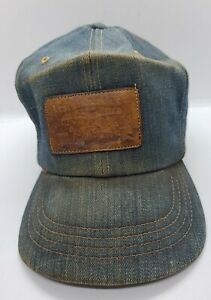 Vintage Levis Denim Leather Patch Orange Tab USA Made Trucker Hat Strapback Cap