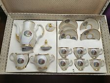 """Coffee Porcelain Set """"Madonna"""" Czechoslovakia 1984, Mother of pearl and gilding"""