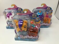 Pooparoos 3 New Purple Unicorn, White Puppy, Bunny Eats & Poops w/ 3 Foods each