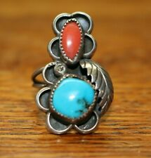 VINTAGE NATIVE AMERICAN NAVAJO STERLING SILVER RING SIZE 7.5 SIGNED MC