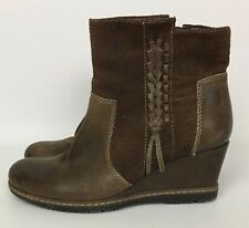 Women's Earth Hilltopper Wedge Heel Ankle Boots Brown Suede Leather Size 7.5 B