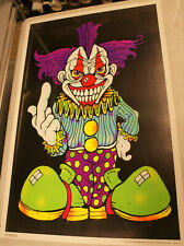 2001 Evil Scary Clown Thinking Of You Blacklight+2 Free posters see description.