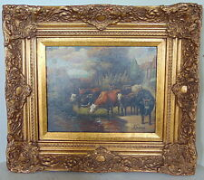 Drinking Cows by J. Baird - Antique OIlPainting on Panel 1st half 20th cent