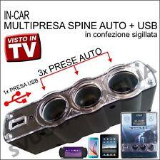 MULTI PRESA ACCENDISIGARI SDOPPIATORE 3 SPINA AUTO + USB PER FIAT GRANDE Punto