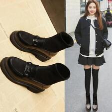Womens Loafers Sock Boots Girls Low Chunky Heel Work Smart Slip On School Shoes