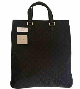 Auth Gucci Guccissima GG Supreme Leather Large Tote Bag Handbag Dark Brown