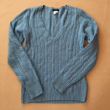J Crew Cable Knit Sweater Angora Cashmere Merino Wool Blend V-Neck Blue XS 2937