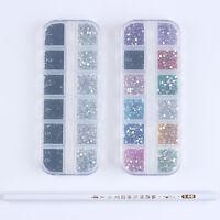 12 Colors/Box Nail Art Rhinestones Pen Acrylic UV Sticker Kit Manicure Tool