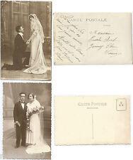 LOT 2 CPA postcard photo couple love Bride and Groom amour Jeunes Mariés [767 A]