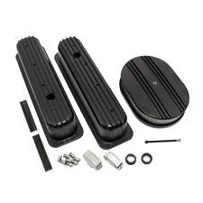 SBC 5.7L 350 Finned Black Coated TBI Vortec Aluminum Valve Covers W/ Air Cleaner