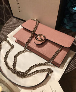NWT Authentic Gucci 510314 GG Interlocking Leather Wallet On Chain, Clutch Pink