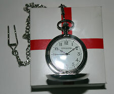 Chrome George Cross Pocket Watch Full Closure On Chain Enamelled Badge Front