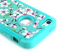 For iPhone SE 5S HARD & SOFT RUBBER HYBRID DIAMOND BLING CASE MINT BLUE FLOWERS
