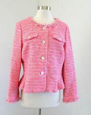 J Crew Lady Jacket in Pink Neon Tweed Size 14 Collarless Fringe Blazer G1959