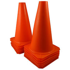 "9"" Tall ORANGE CONES Sports Training Safety Cone Qty 12"