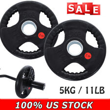 Barbell Standard Rubber Olympic Weight Plates 5KG / 11LB  New, SET OF 2 PLATES