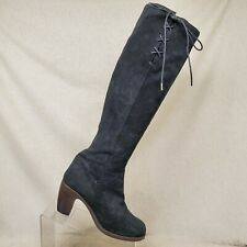 Fiorentini + Baker Black Suede Side ZIp Lace Up Over the Knee Boots Size 38 EUR