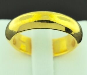 Real 24k 9999 Solid Yellow Gold Wedding band Ring 5 mm size 4-12 high  7.55 gr