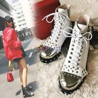 Women's Chic Rivet Studded Zip Lace Up Leather Buckle Block Heel Ankle Boots Hot