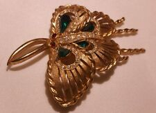 VTG Rare Signed Charel Pin Brooch Butterfly style bug insect Rhinestone Couture