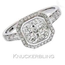 Diamond Square Halo Style Ring 0.95ct F VS Brilliant Cut set in 18ct White Gold