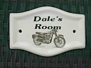White ceramic plaque, motorbike image 1960 BSA GOLDSTAR, Dale's room