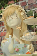 Lolita Cosplay Vintage Oval Eyeglass Frame Plain Glass Spectacles Bowknot Pearl
