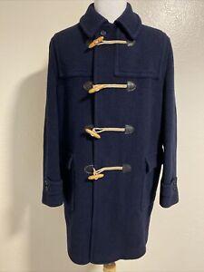 Vintage Lodenfrey Navy Blue Wool Plaid Lining Toggle Duffel Coat Men's US 44
