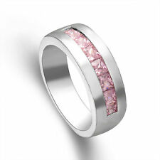 Fashion Silver Plated Pink Cubic Zirconia Women Bridal Wedding Band Ring Size 9