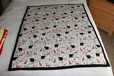 Baby Quilt, Animal Forest Flannel Print with Black Minky Cuddle Soft Back