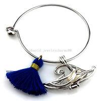 KB106 Copper Jump Dolphin Pearl Cage Blue Tassel Stainless Steel Bracelet Girl