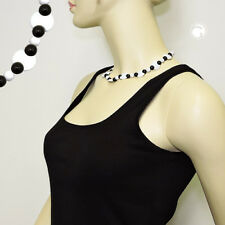 Kette Halbmond weiß perle schwarz Damen 13430gn