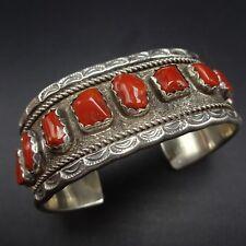 Vintage NAVAJO Sterling Silver & Old Red Mediterranean CORAL Cuff BRACELET 60.6g