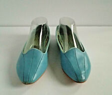Vintage Women's Daniel Green Slippers sz 8 Baby Blue Retro House Shoes Vtg