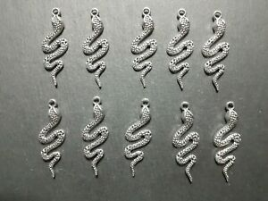 10 x Antique Silver Coloured Snake Reptile Charms, Jewellery Keyring Charms, UK