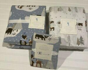 NEW Pottery Barn Kids WINTER BEAR FLANNEL DUVET, SHEET SET, SHAM Twin Christmas
