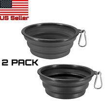 Portable Travel Collapsible Bowl for Dog Food & Water Foldable Bowls Dish Pack 2