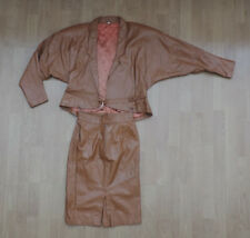 Women's 2 Piece Skirt Blazer UK 12 Jacket Leather Brown Bronze G7-A2