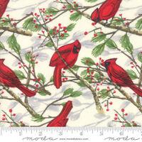 Christmas Splendid MODA Red Cardinals on Cream 100% cotton fabric by the yard