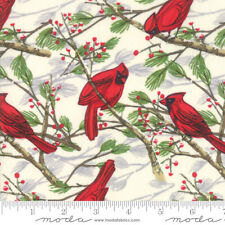 Christmas Splendid MODA Red Cardinals on Cream 100% cotton fabric by the yard