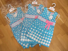Spotty Dress NWT by Sweet Elegance Girl's 2-3 Years Blue/White/Pink Bow Detail