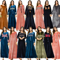 Velvet Muslim Women Embroidered Abaya Long Maxi Dress Kaftan Robe Cocktail Gown