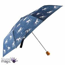 Sass & Belle Blue Starlight Unicorn Folding Compact Umbrella Storage Cover Gift