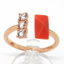 ANILLO PLATA 925, ROSA, TRILOGY, CORAL ROJO RECTANGULAR, MADE IN ITALY