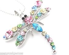 Dragonfly Pendant Necklace Woman's Silver Chain Crystal Fashion Jewelry New