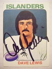 DAVE LEWIS signed NY ISLANDERS 1975-1976 Topps hockey card AUTO Autographed #108